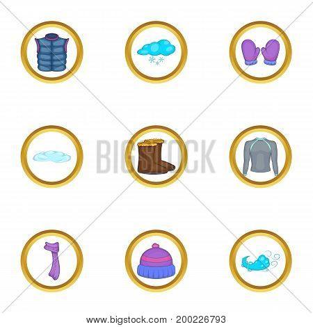 Winter clothing icons set. Cartoon illustration of 9 winter clothing vector icons for web design