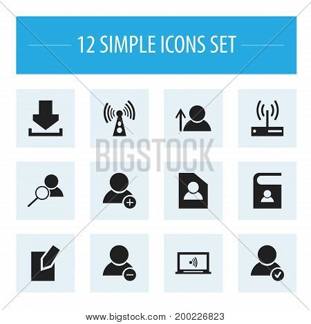 Set Of 12 Editable Web Icons. Includes Symbols Such As Telephone Directory, Edit File, Document And More