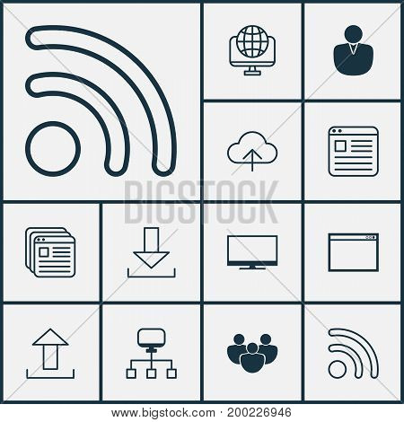 Internet Icons Set. Collection Of Local Connection, Team, Down Arrow And Other Elements