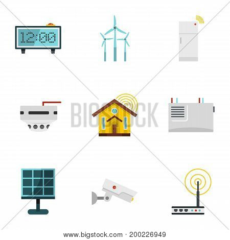 Smart home devices icon set. Flat style set of 9 smart home devices vector icons for web isolated on white background