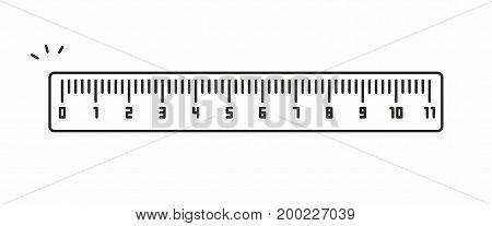Ruler line icon on white background. Vector illustration.