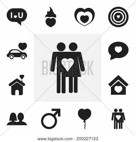 Set Of 12 Editable Amour Icons. Includes Symbols Such As Valentine Balloons, Car, Heartbeat And More