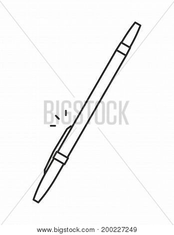 Ballpoint pen line icon on white background. Vector illustration.