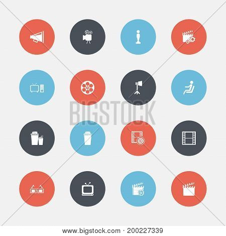 Set Of 16 Editable Cinema Icons. Includes Symbols Such As Oscar, Action, Monitor With Processor And More