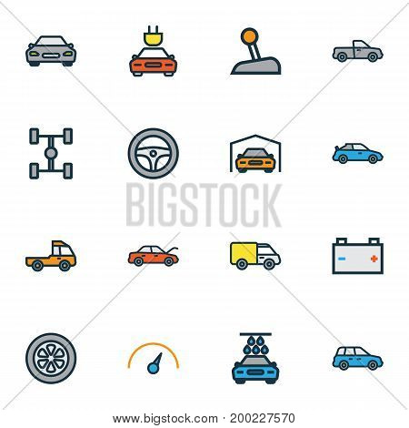 Automobile Colorful Outline Icons Set. Collection Of Accumulator, Cabriolet, Sedan And Other Elements