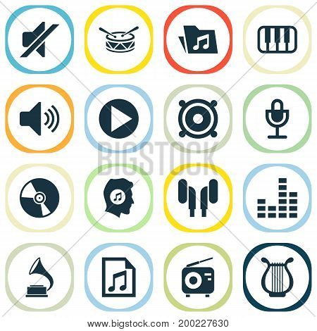 Multimedia Icons Set. Collection Of Tuner, Octave, Dossier And Other Elements