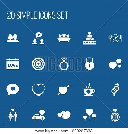 Set Of 20 Editable Heart Icons. Includes Symbols Such As Sexuality, Joy, Pastry And More