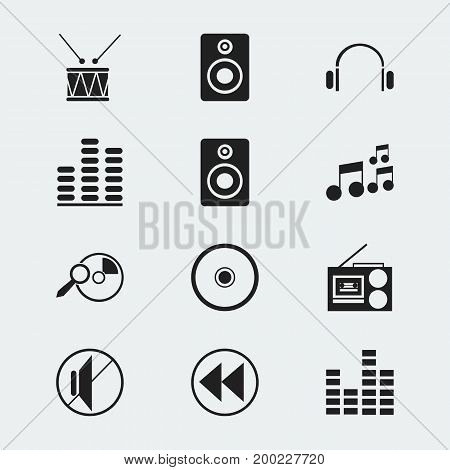 Set Of 12 Editable Media Icons. Includes Symbols Such As Drum, Equalizer, Silent And More