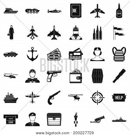 Combat target icons set. Simple style of 36 combat target vector icons for web isolated on white background