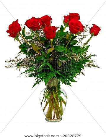 Colorful rose flower bouquet in vase isolated on white.