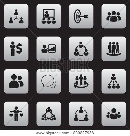 Set Of 16 Editable Business Icons. Includes Symbols Such As Staff Structure, Partnership, Command