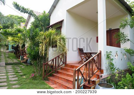 Typical resort bungalows on Phu quoc island in Vietnam