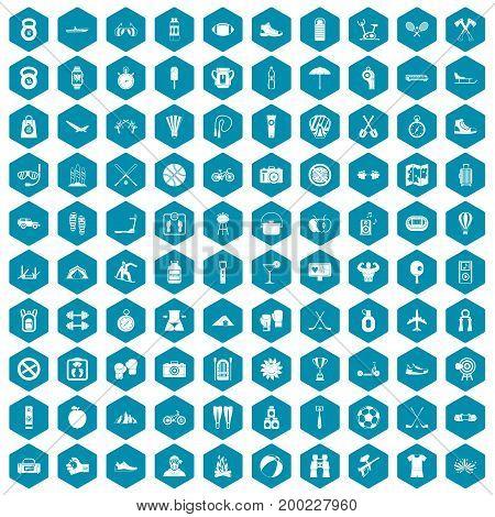 100 active life icons set in sapphirine hexagon isolated vector illustration