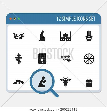 Set Of 12 Editable Religion Icons. Includes Symbols Such As Candle Light, Spring Pie, Orison