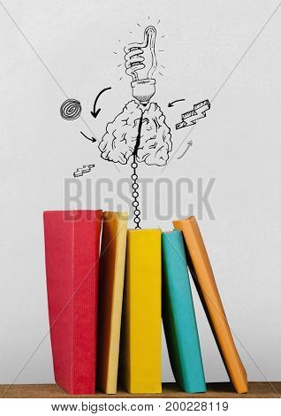 Digital composite of Books on the table against white blackboard with education and school graphics