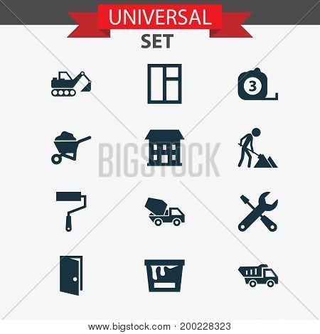 Building Icons Set. Collection Of Paint Roller, Cement Vehicle, Builder And Other Elements