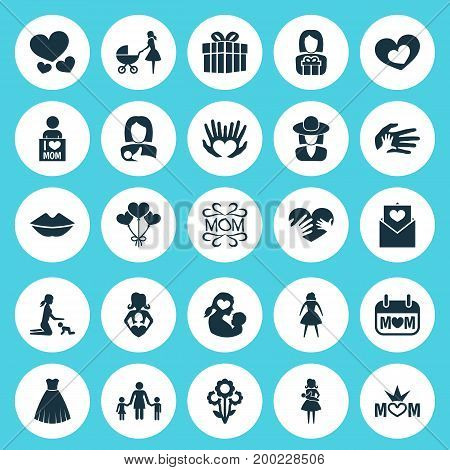 Mothers Day Icon Design Concept. Set Of 25 Such Elements As Mam, Protect And Heart