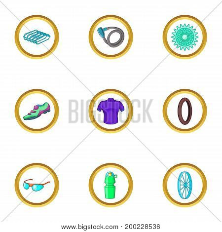 Bicycle trip icons set. Cartoon illustration of 9 bicycle trip vector icons for web design
