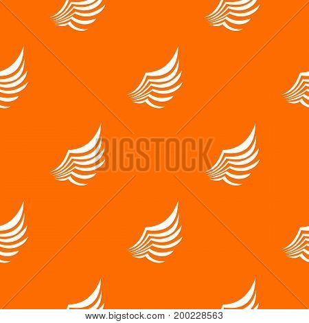 Wing pattern repeat seamless in orange color for any design. Vector geometric illustration