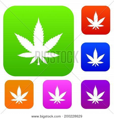 Cannabis leaf set icon in different colors isolated vector illustration. Premium collection