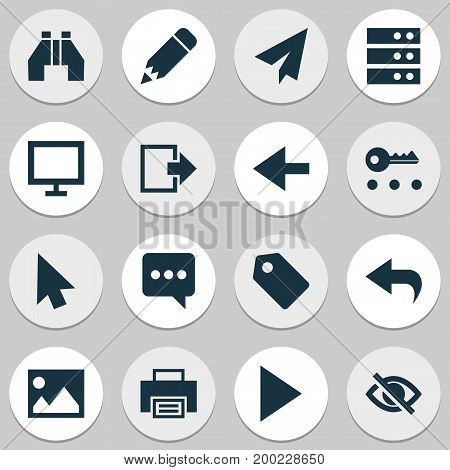 Interface Icons Set. Collection Of Origami, Monitor, Binocular And Other Elements