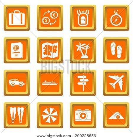 Travel icons set in orange color isolated vector illustration for web and any design