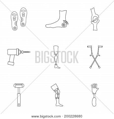 Orthopedic prosthetic icon set. Outline style set of 9 orthopedic prosthetic vector icons for web isolated on white background