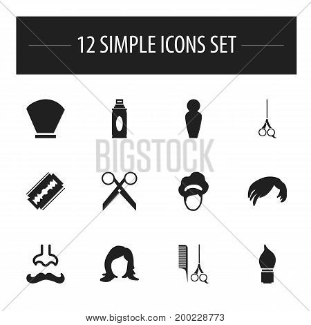 Set Of 12 Editable Hairdresser Icons. Includes Symbols Such As Hair Lacquer, Beauty, Bristle And More