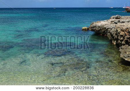 Coastal reef and lava rock along Aruba's shoreline.