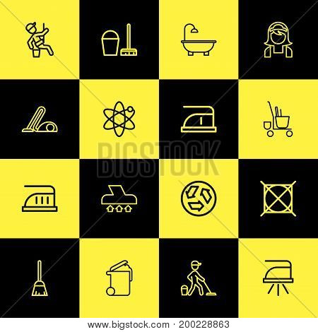 Set Of 16 Editable Cleanup Outline Icons. Includes Symbols Such As Bathtub, Alternative Energy, Dust And More