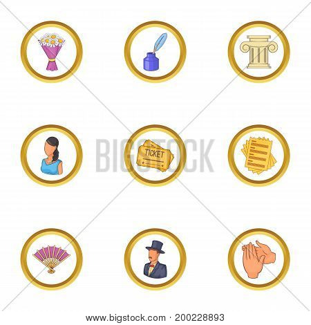 Opera icons set. Cartoon illustration of 9 opera vector icons for web design