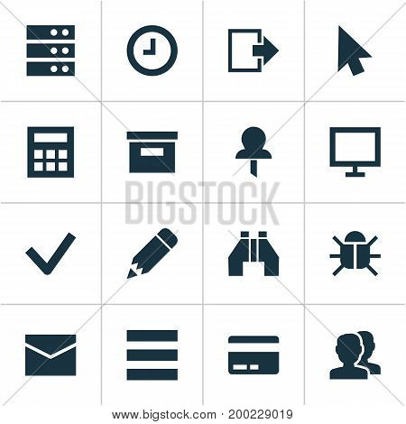 Interface Icons Set. Collection Of Arrow, Calculate, Pushpin And Other Elements