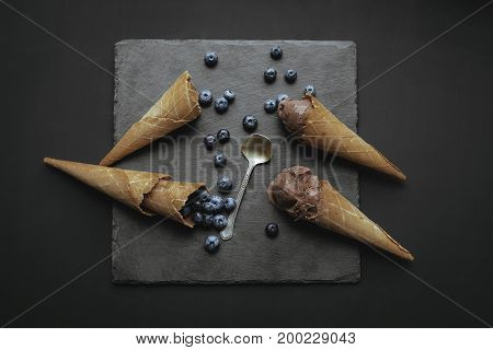 Homemade Ice Cream With Blueberries