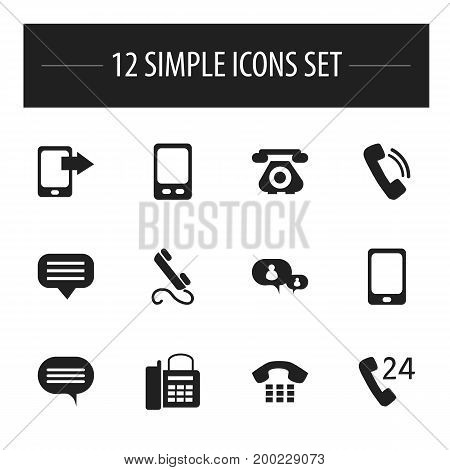 Set Of 12 Editable Phone Icons. Includes Symbols Such As Phone, Chatting, Call And More