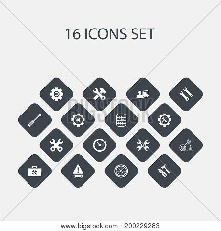 Set Of 16 Editable Service Icons. Includes Symbols Such As Tyre, Warning, Spanner And More