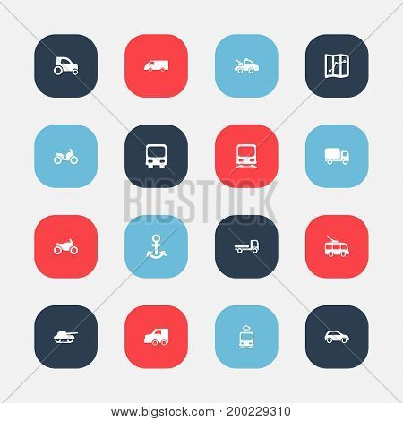 Set Of 16 Editable Transportation Icons. Includes Symbols Such As Shipping, Motorbike, Hatchback And More