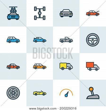 Auto Colorful Outline Icons Set. Collection Of Machine, Truck, Van And Other Elements