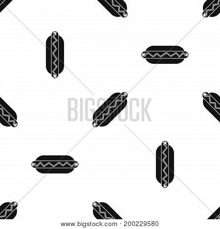 Bun and sausage pattern repeat seamless in black color for any design. Vector geometric illustration