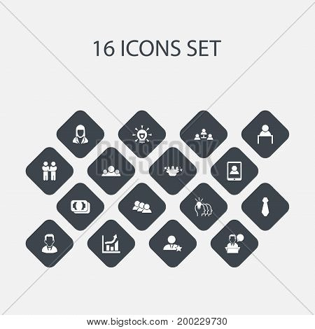 Set Of 16 Editable Trade Icons. Includes Symbols Such As Currency, Idea, Cravat And More
