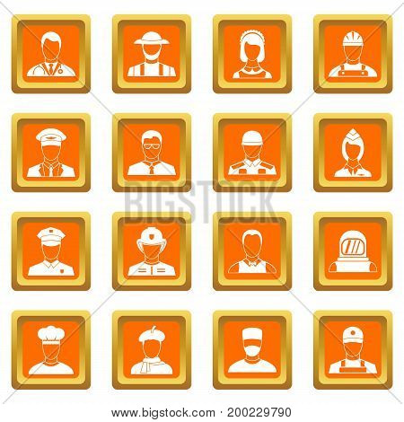 Professions icons set in orange color isolated vector illustration for web and any design