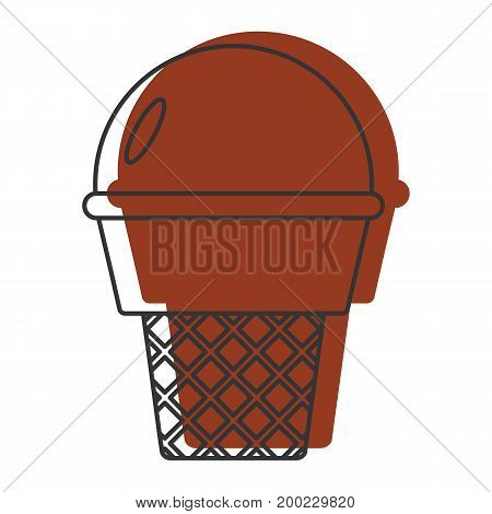 Chocolate ice cream doodle icon vector illustration for design and web isolated on white background. Ice cream vector object for labels  and advertising