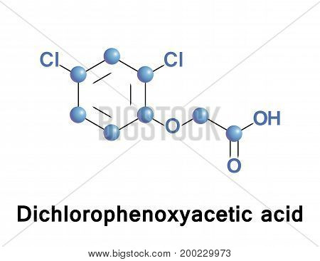 Dichlorophenoxyacetic acid is an organic compound with the chemical formula C8H6Cl2O3. It is a systemic herbicide which selectively kills most broadleaf weeds by causing uncontrolled growth in them