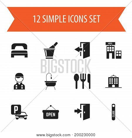 Set Of 12 Editable Travel Icons. Includes Symbols Such As Opened Placard, Hostel, Employee And More