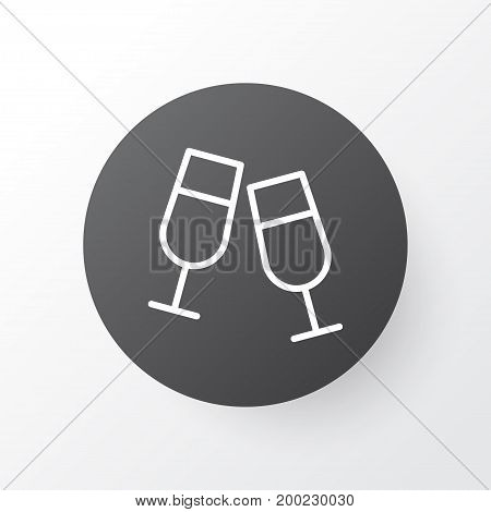 Premium Quality Isolated Champagne Glasses Element In Trendy Style.  Clink Glasses Icon Symbol.