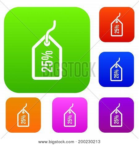 Tag with 25 discount set icon in different colors isolated vector illustration. Premium collection