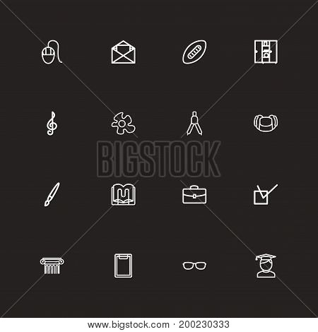 Set Of 16 Editable Teach Outline Icons. Includes Symbols Such As Goggles, Letter, Food And More