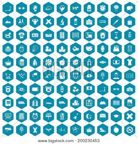 100 alarm clock icons set in sapphirine hexagon isolated vector illustration