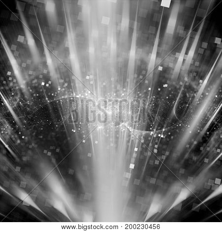 Magic explosion of particles in space texture black and white computer generated abstract background 3D rendering