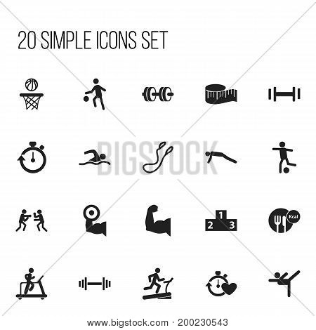 Set Of 20 Editable Sport Icons. Includes Symbols Such As Jogging, Acrobatics, Biceps And More