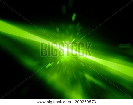 Green glowing laser beams hitting the target explosion computer generated abstract background 3D rendering